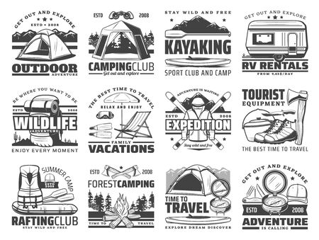 Illustration pour Outdoor adventure vector icons of travel, camping and rafting with sport equipment. Trekking boots, hiking backpack and mountain camp tent, campfire, compass and axes, skis, kayak, trailer - image libre de droit