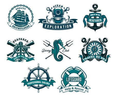 Illustration pour Heraldic ship anchor and helm vector icons, captain spyglass and frigate sailboat, aqualung and lifeguard buoy, seahorse and trident. Diving club, sea and ocean exploration adventure nautical icons - image libre de droit