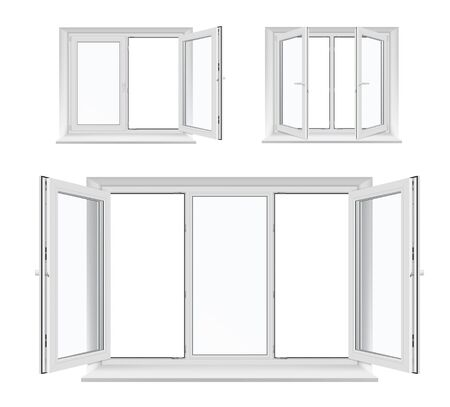 Illustration pour Windows with opened casements, vector white plastic frames, sills and glass panes, architecture and interior design. Realistic 3d windows with PVC, metal or aluminum profiles, locking handles - image libre de droit