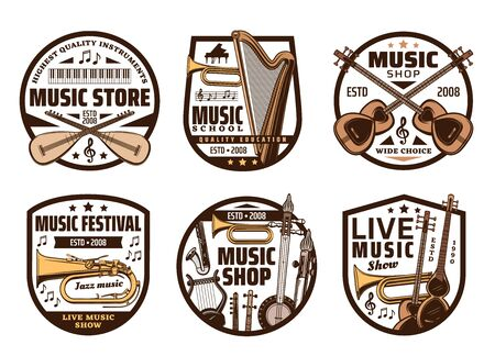 Music instruments, live concert and folk band festival, sound equipment shop icons. Vector music instruments, orchestra harp, rock electric guitar and jazz saxophone, classical harp and trumpet