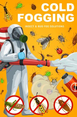 Illustration pour Insect and bug cold fogging, pest control vector design. Exterminator with pesticide spray and sprayer, mosquito, cockroach and ant, fly, flea, mite or tick, grasshopper, wasp, potato beetle - image libre de droit