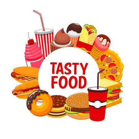 Illustration for Fast food and street food restaurant meals and snacks menu. Vector fastfood bistro sandwiches, pizza and cheeseburger, Mexican tacos, nachos and burrito, hot dog and ice cream, coffee and soda drinks - Royalty Free Image