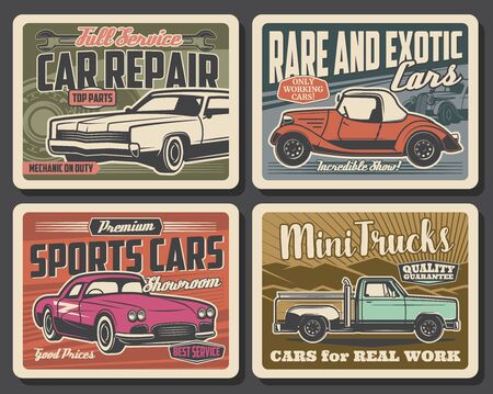 Car repair and mechanic maintenance service retro posters. Vector vintage cars parts shop and rare vehicles showroom museum, trucks rental and sport carts diagnostics, repair and tuning garage station