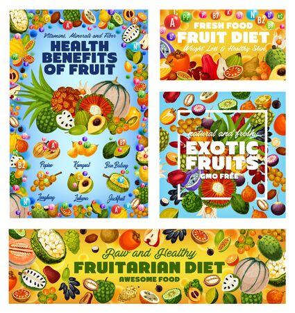 Exotic fruit vitamins, health benefits of fruitarian diet and GMO free tropical berries vector design. Tangerine, cherimoya and persimmon, apple cashew, jackfruit and soursop, cantaloupe and kumquat
