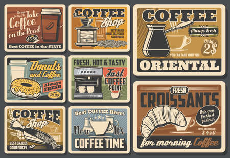 Illustration pour Coffee cups, pots and espresso machine, roasted beans, grinder and croissant, cappuccino, latte and macchiato drinks takeaway paper mugs, donut and milk vector posters. Coffee shop, cafe, coffeehouse - image libre de droit