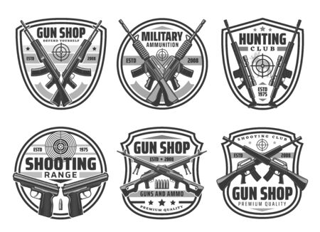 Illustration for Military weapons of army pistols and firearms, hunter shotgun with bullets and cartridges - Royalty Free Image