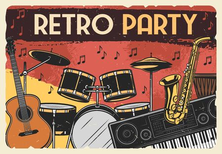 Photo pour Musical instruments, retro music party vector design. Guitar, drum and saxophone, synthesizer, african djembe and musical notes vintage poster of jazz festival or entertainment themes - image libre de droit