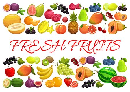 Illustration pour Fruits and berries, exotic tropical garden and farm market harvest, vector poster. Tropic pineapple, banana and papaya, strawberry, raspberry and blackcurrant, watermelon and grape, blueberry and pear - image libre de droit
