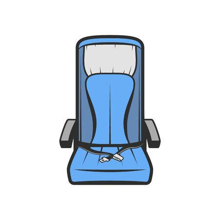 Illustration pour Airplane seat isolated blue passenger chair. Vector armchair with safety belts, comfort aircraft travel chair. Empty economy class seat with seatbelt. Comfortable blue chair with armrest in train - image libre de droit