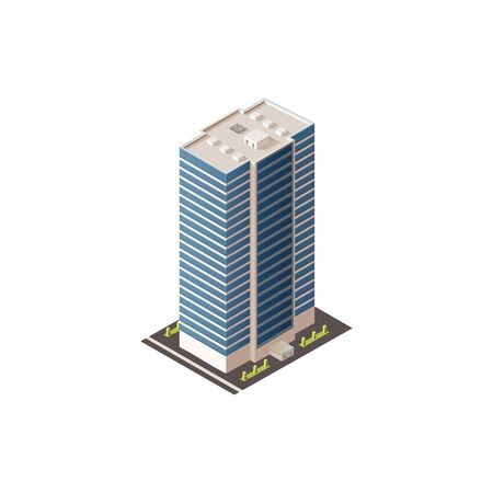 Illustration for Public business center or hotel isolated 3D building. Vector commercial skyscraper, futuristic exterior - Royalty Free Image