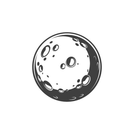 Illustration pour Craters and bumps on moon planet isolated globe. Vector lunar surface with holes - image libre de droit