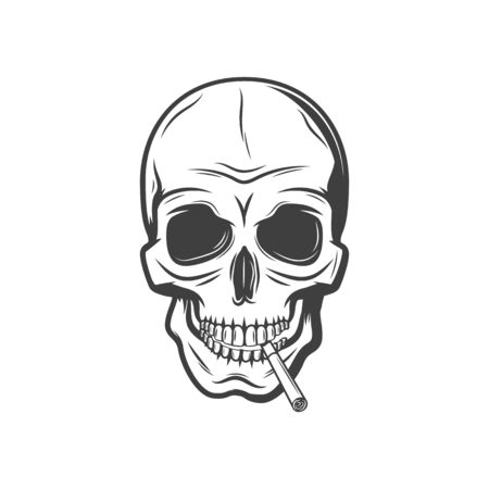 Illustration pour Skull with cigarette isolated harmful habit symbol. Vector deathful smoking addiction monochrome sign - image libre de droit