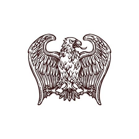 Illustration pour Golden eagle heraldic bird. Gold insignia of eagle, hawk or falcon with open wing and sharp feather isolated icon. Tattoo, medieval coat of arms or heraldry themes design - image libre de droit