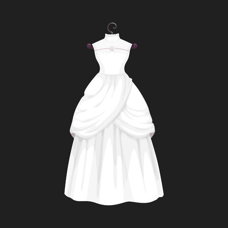 Illustration pour Wedding dress vector isolated icon. Vector Save the Date greeting, engagement and marriage party invitation or bride tailor salon symbol of white wedding dress model with bows and laces - image libre de droit