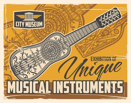 Musical string instruments museum exhibition, vintage retro poster. Folk music instruments unique exhibition, national and antique musical little string guitar, zither or sitar, mandolin