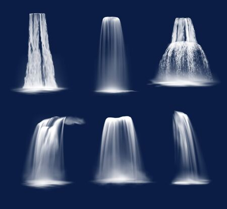 Illustration pour Waterfalls and water fall cascades realistic vector design of mountain river streams falling down with splashes, fog or mist and drops. Ledge, plunge and horsetail waterfalls on blue background - image libre de droit