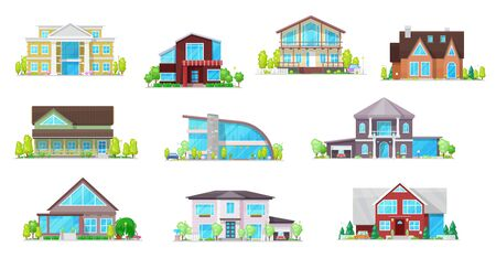 Illustration pour Real estate private buildings vector icons. Isolated villas, cottages and bungalow. Cartoon modern, classic design residential homes, village real estate townhouses residence apartments, property set - image libre de droit