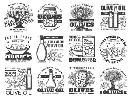 Illustration for Olive oil, vector labels, olives farm products icons. Extra virgin olive oil in bottle and jug, pickled green and black olives, natural organic premium quality food - Royalty Free Image