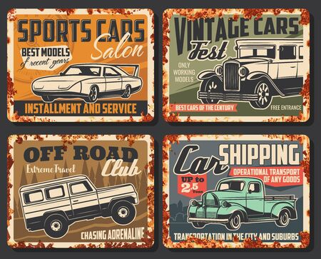 Illustration for Vintage and sport cars vector rusty metal plates. Car service center, rarity vehicles show fest exhibition and sport motors salon, off-road extreme club and transport shipping - Royalty Free Image