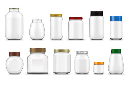 Illustration pour Glass jars with lids realistic mockup, vector food packages. Empty clear bottle containers and transparent pots with metal and plastic screw caps 3d template of food canning and storage design - image libre de droit