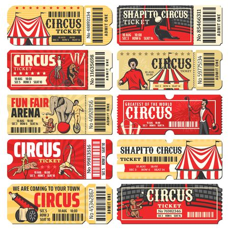 Illustration pour Circus ticket vector templates of chapiteau carnival show. Vintage invite cards and pass coupon with big top circus tent, clowns, acrobats and trained animals, monkey juggler, rocket man and elephant - image libre de droit