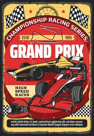 Foto per Car races retro poster, vintage auto rally sport championship and Grand Prix tournament, vector. Retro sport car speedway racing tournament, racecar speedometer, racetrack, start and finish flags - Immagine Royalty Free