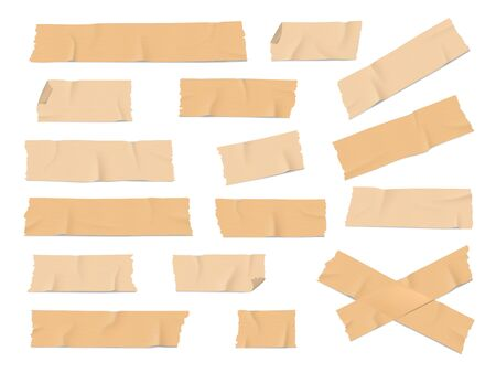 Illustration pour Adhesive, duct or insulating tape pieces realistic vector set. Beige masking tape crumpled stripes with torn, curved edges on white background. Industry, packaging, office supplies,scrapbook element - image libre de droit