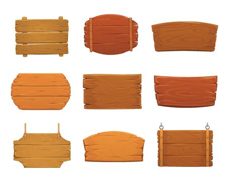 Illustration pour Wooden sign boards vector design of old wood plank signboards and timber panel banners with nails, hanging on ropes and chains. Blank cartoon plaques, billboards, signposts and pointers - image libre de droit
