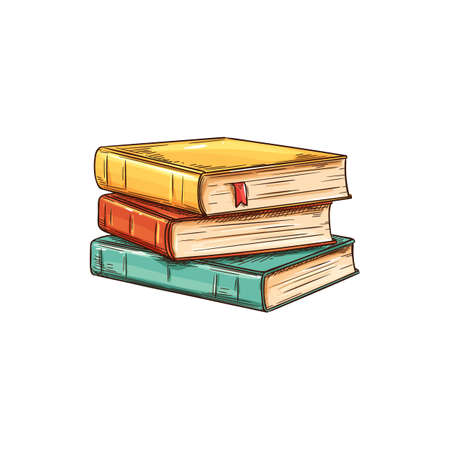 Illustration for Stack of textbooks with bookworm isolated sketch. Vector pile of books, education and knowledge symbol. Studying, learning and reading literature, stacked color old vintage books in hardcover - Royalty Free Image