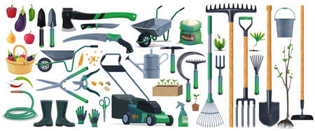 Illustration for Garden tools and equipment cartoon set of vector agriculture, farming and gardening design. Spade, rake, shovel and pitchfork, trowel, watering hose and can, grass mower, wheelbarrow and pruners - Royalty Free Image