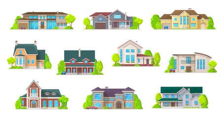 Illustration pour Houses, bungalow cottages and real estate buildings, vector icons. - image libre de droit