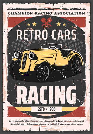 Illustration pour Retro cars racing vector poster. Vintage vehicle rally sport and muscle cars championship race. Rarity old grand prix race, champion and drivers club, sport competition vintage design - image libre de droit