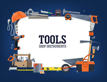 Construction, house repair tools shop banner. Wheelbarrow, toolbox and helmet, carpenter rule, measure tape and level, pickaxe and saw, multimeter, extension cord and tile cutter, screwdriver vector