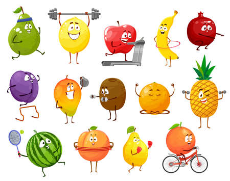Illustration for Cartoon fruits sportsmen, vector pear, lemon and apple, banana, pomegranate and prune with mango. Kiwi, grapefruit and orange, pineapple, watermelon and quince isolated characters sports workout set - Royalty Free Image