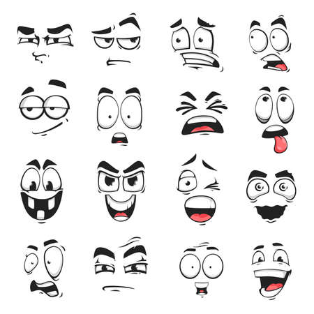 Illustration pour Face expression isolated vector icons, cartoon funny emoji suspicious, scared and shocked, grin, smirk or crazy. Facial feelings smile, laughing and yelling, surprised, squint and upset emoticons set - image libre de droit
