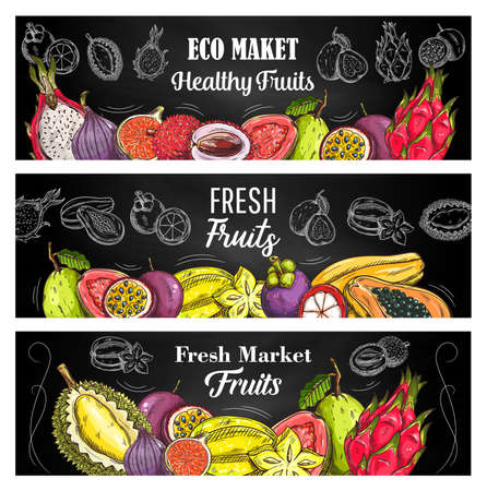 Illustration for Exotic fruits sketch vector banners with guava, lychee and passion fruit, pitahaya, mangosteen and papaya, figs, durian with carambola. Engraving natural tropical fruits on blackboard, eco market food - Royalty Free Image