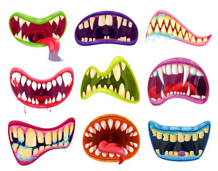 Illustration pour Mouth and teeth of Halloween monsters vector set. Cartoon scary smile expressions with alien animal tongues, vampire, beast, devil or demon creature creepy lips and fangs with blood and saliva - image libre de droit