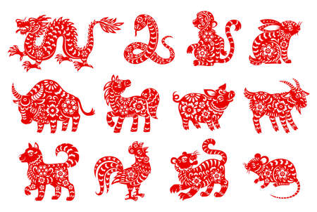 Illustration pour Chinese horoscope animal isolated icons with red paper cut zodiac symbols of Lunar New Year. Vector rat, mouse, pig and dog, dragon, tiger and monkey, horse, snake, rooster and ox, goat, rabbit, sheep - image libre de droit