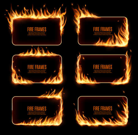 Illustration pour Fire frames, vector rectangular burning borders. Realistic burn flame tongues with flying particles and embers on rectanggle frame edges. 3d flare. Burned holes in fire, isolated blazing borders set - image libre de droit