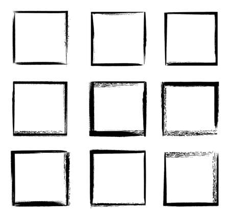 Illustration pour Grunge frames isolated vector black square shape borders with scratched rough edges on white background. Grungy old texture, dirty weathered vignettes for photo frames, decorative design elements set - image libre de droit