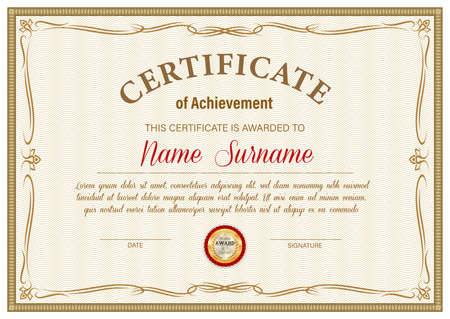 Illustration for Certificate of achievement vector template, diploma border ornate design. Official award frame, paper document for winner appreciation or graduation with golden stamp and place for name and surname - Royalty Free Image