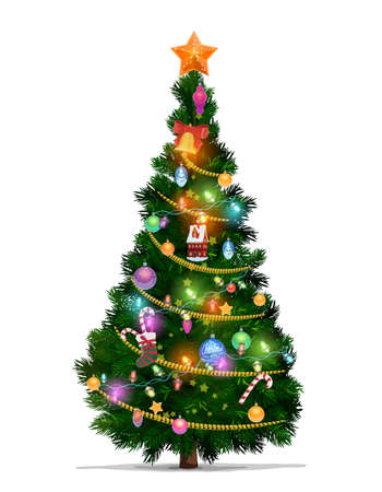 Illustration pour Christmas tree with cartoon vector Xmas star, balls and New Year gifts. Christmas fir or pine tree, decorated with Xmas ornaments, glowing lights, canes and stocking, bell, ribbon and serpentine - image libre de droit