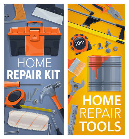 Home repair and renovation tools posters. Toolbox, measuring tape and hammer, tile cutter, paint brush roller and spanner wrench, nail, bolt and screw, spatula vector. Construction toolkit banners
