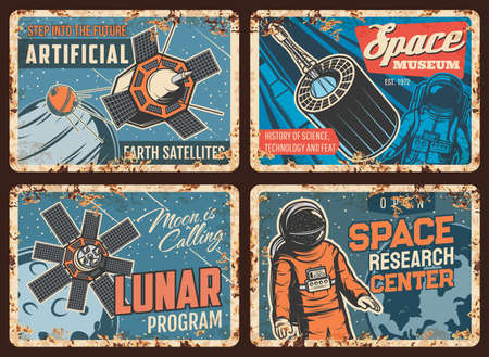 Illustration for Space exploration technologies rusty metal plates. Earth artificial satellite, aerospace flights and science history museum, lunar program retro banners. Astronaut in spacesuit in outer space vector - Royalty Free Image