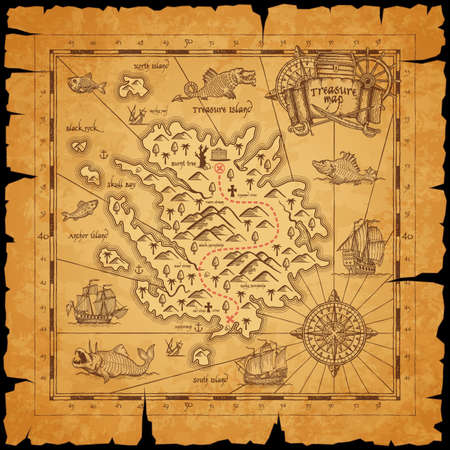 Illustration pour Pirate treasure island ancient map. Route dotted line among mountains, mark for chest with treasures and sailing in ocean caravels, sea monsters on piece of parchment paper with torn sides vector - image libre de droit