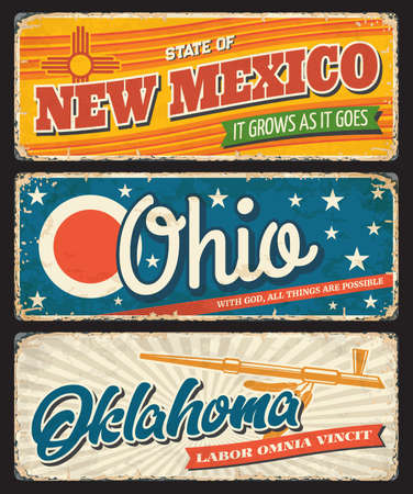 Illustration for Ohio, Oklahoma and New Mexico USA state rusty metal banners. Vector American travel and tourism old signboards with stars, eagle feathers, ceremonial pipe and red sun symbol - Royalty Free Image