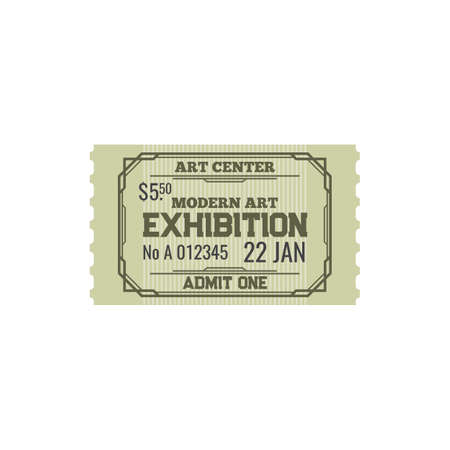 Illustration for Ticket to modern art center, numbered paper card to exhibition or fair trade of paintings voucher. Admission to visit cultural event, admit on performance in museum. Raffle coupon on excursion - Royalty Free Image