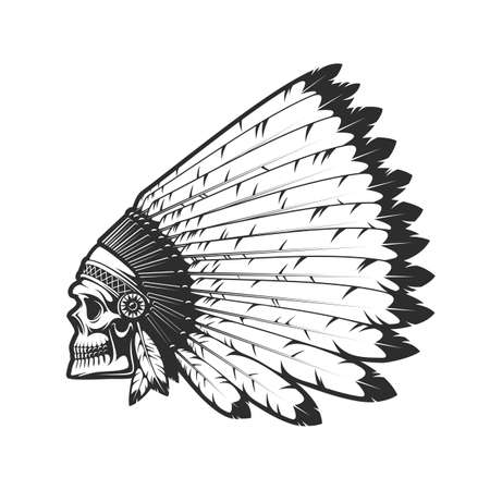 Illustration pour Indian chief skull in indigenous headdress of eagle feathers, dead head vector tattoo. Western and native American tribes culture symbol, Indian chief warrior monochrome isolated head - image libre de droit