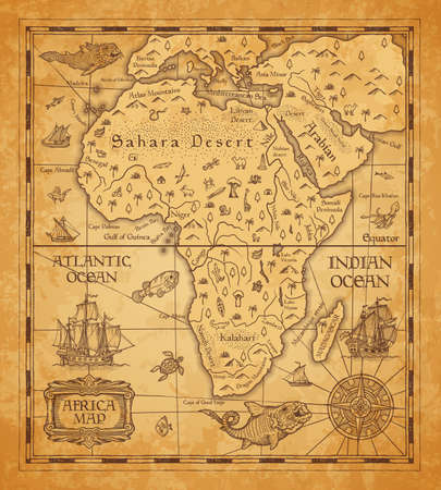 Illustration pour Antique map of Africa on old parchment. Vector African continent with islands, sea and oceans, mountains, deserts and rivers, vintage sail ship, boat, nautical compass rose and ancient monster fish - image libre de droit