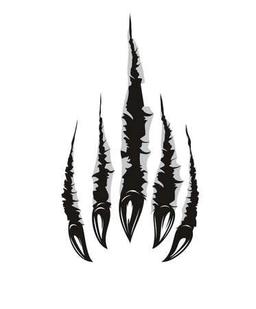 Illustration for Grizzly bear claw marks and scratches, vector torn cracks of wild animal. Grizzly bear beast paw marks of claws with sharp fissures texture, damaged breaks and hollow scraps, black on white background - Royalty Free Image